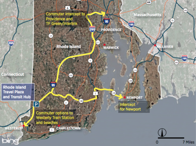 RIDOT map of RI and proposed traffic reductions from Exit 1 rest stop